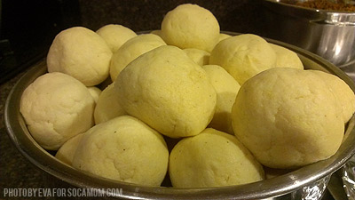 Cornmeal formed into balls for pastelles  ::  Socamom.com