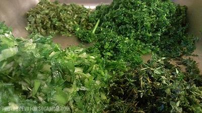 Fresh seasonings for the meat, thyme, parsley, shado beni, green onion  ::  Socamom.com