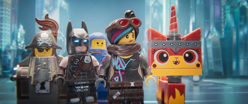 "(L-R) MetalBeard (NICK OFFERMAN), Batman (WILL ARNETT), Benny (CHARLIE DAY), Lucy/Wyldstyle (ELIZABETH BANKS) and Ultrakatty (ALISON BRIE) in a scene from the animated adventure ""The LEGO® Movie 2"