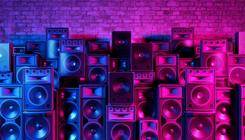 stack of speaker boxes