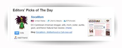 Editor's Pick on bloggers.com - Socamom.com