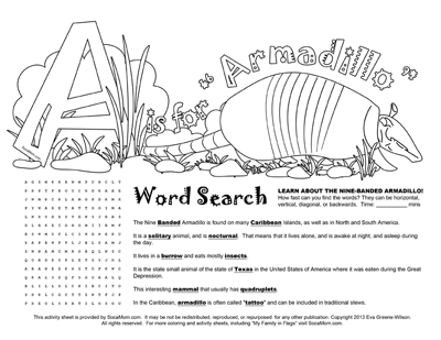 A is for Armadillo :: Caribbean Alphabet Coloring Pages