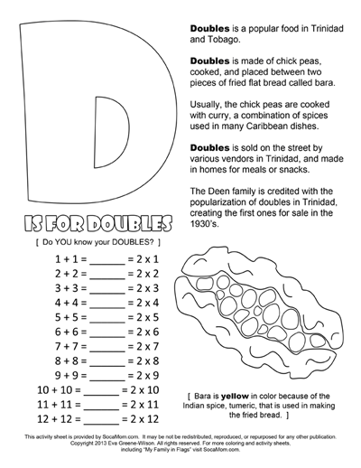 D is for Doubles Coloring Page :: Caribbean Parenting Month