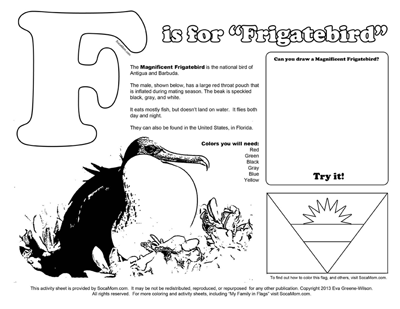 F is for Frigatebird :: Caribbean Alphabet Coloring Pages