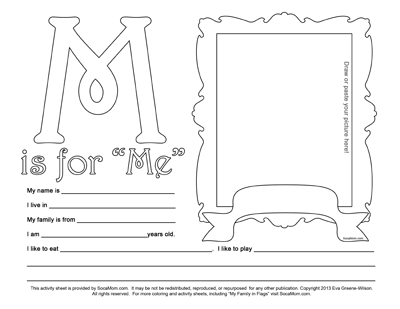 M is for Me :: Caribbean Alphabet Coloring Page