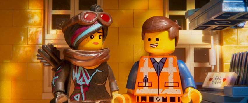 "(L-R) Lucy/Wyldstyle (ELIZABETH BANKS) and Emmet (CHRIS PRATT) in a scene from the animated adventure ""The LEGO® Movie 2: The Second Part,"""