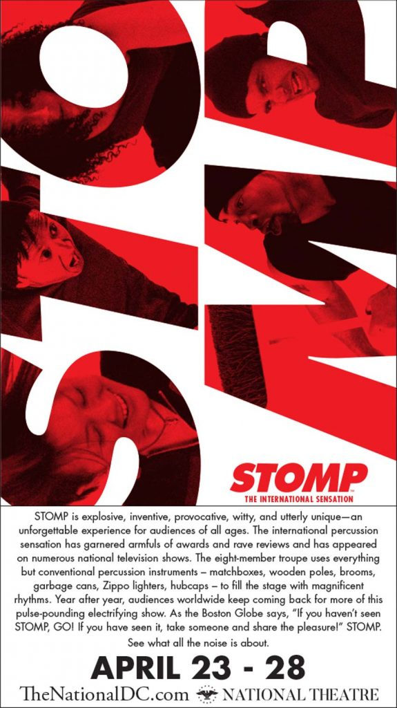 STOMP at the National Theatre April 23 - 28