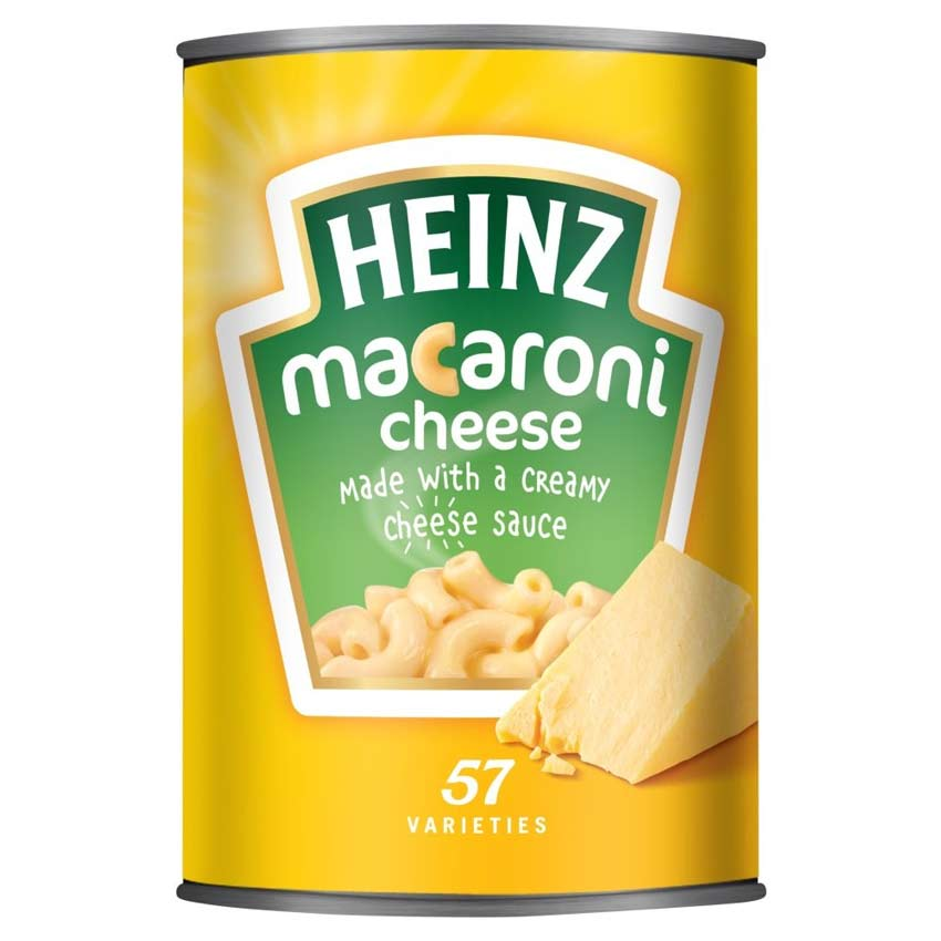 Canned Macaroni and Cheese by Heinz.