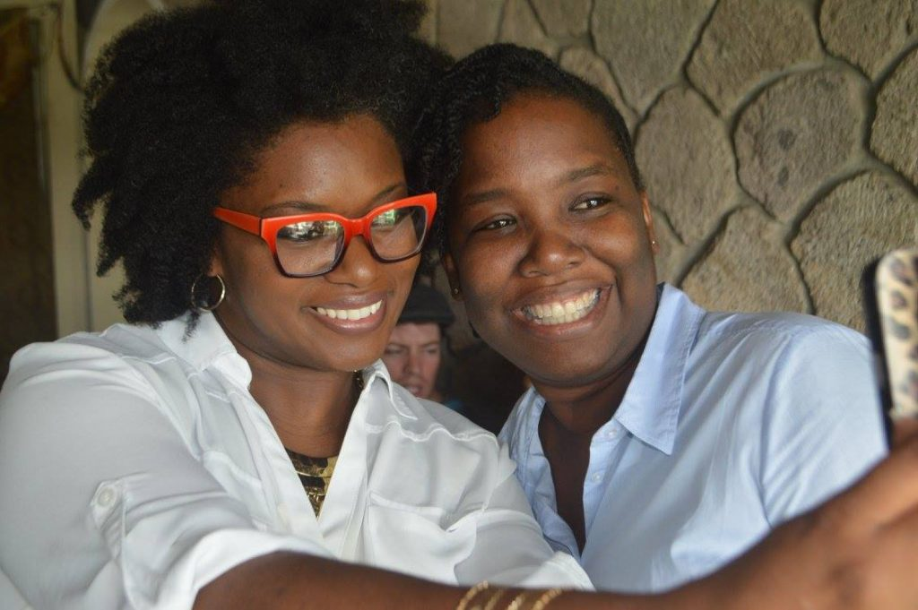 Nerissa Golden and I at the Alliouagana Festival of the Word in Montserrat