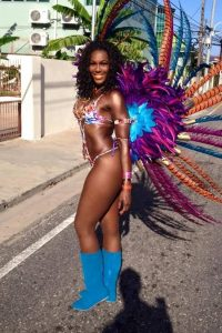 woman in carnival costume on the street