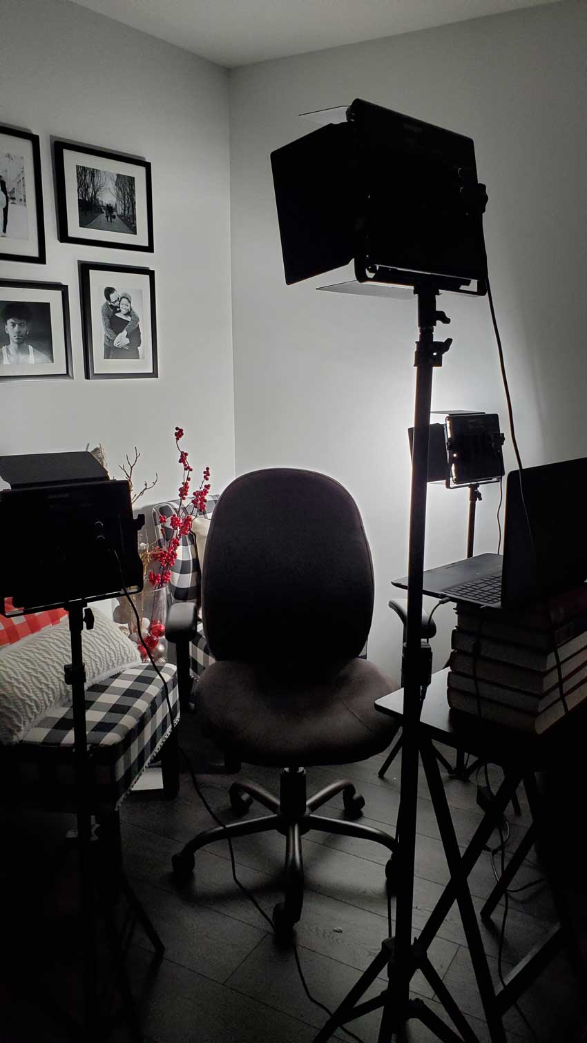empty chair and studio lights